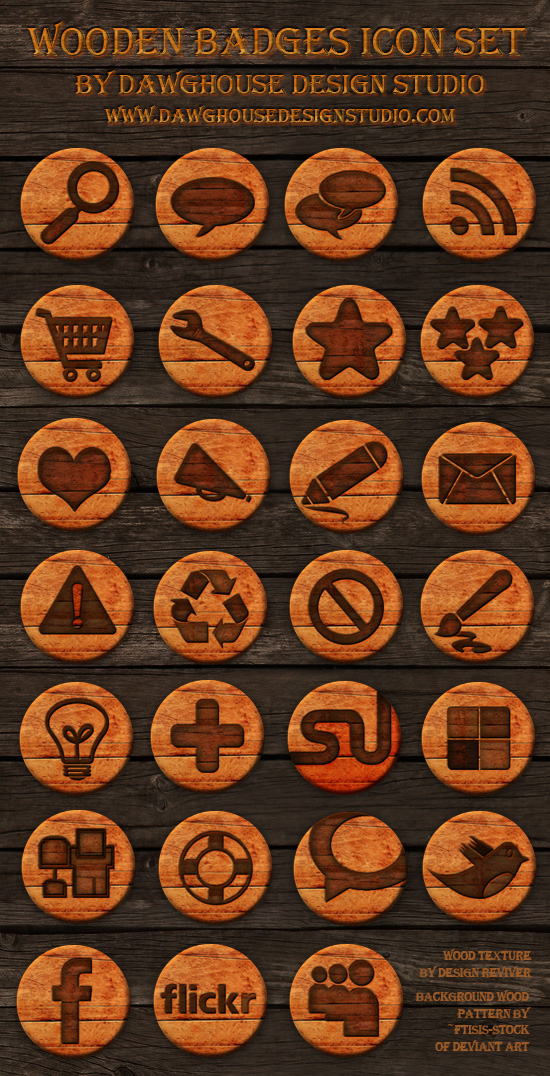 27 Free Wooden Badges – Social Icon Pack Most beautiful social icons sets