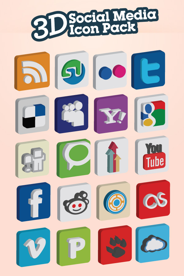 3D Social Media Icon Pack - 20 Icon Set