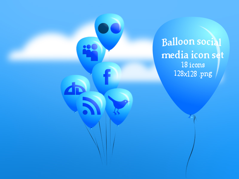 Balloon Social media icon set