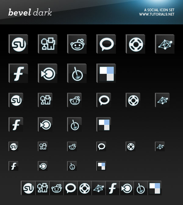 Bevel Dark Social Icons Most beautiful social icons sets