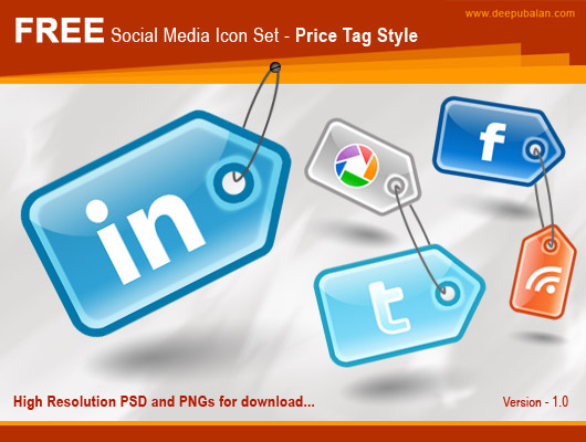 Free High Resolution Social Media Iconset – PriceTag Style Most beautiful social icons sets