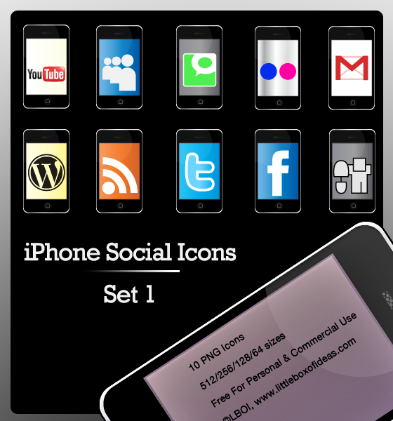 Free iPhone Social Bookmarking Icon Set For Serious Addicts