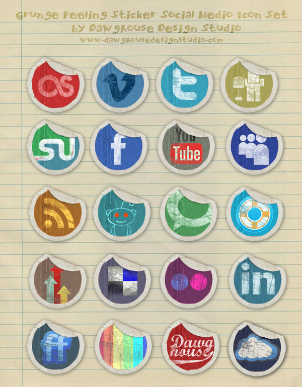 Grunge Peeling Stickers Social Media Icons Most beautiful social icons sets