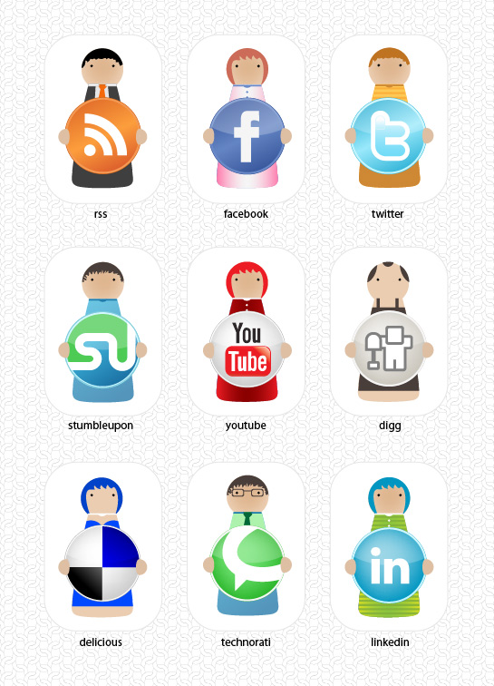 Social Bookmarking Character Set Most beautiful social icons sets