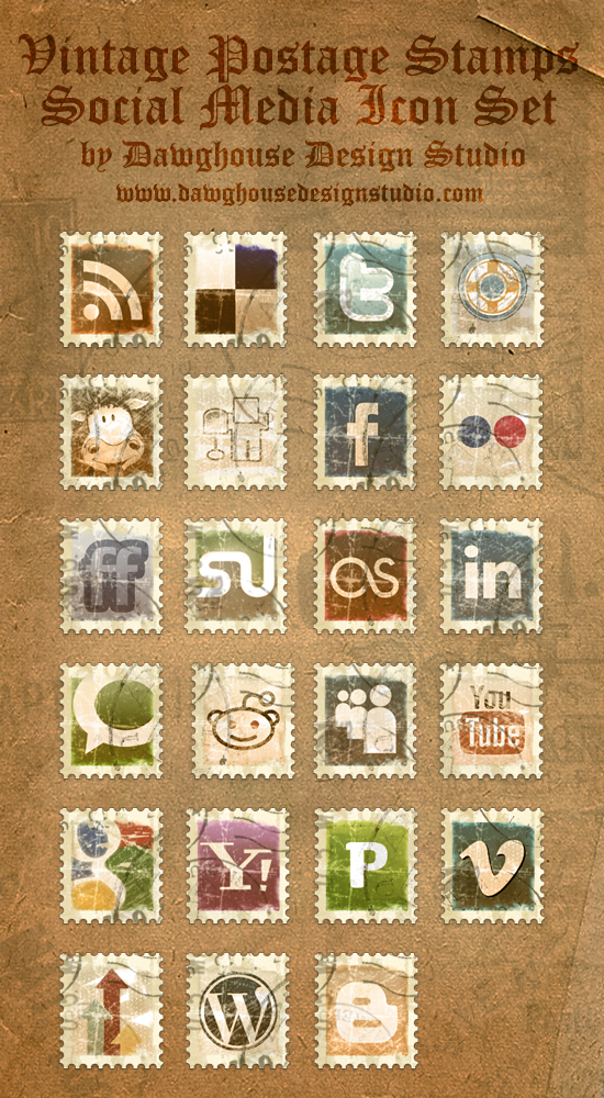 Vintage Postage Stamp Icons by Dawghouse Most beautiful social icons sets
