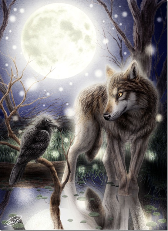 Wolf and Crow with Full Moon by derSheltie thumb 30 Beautiful Moon Inspirations